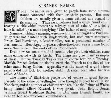 Srange Names